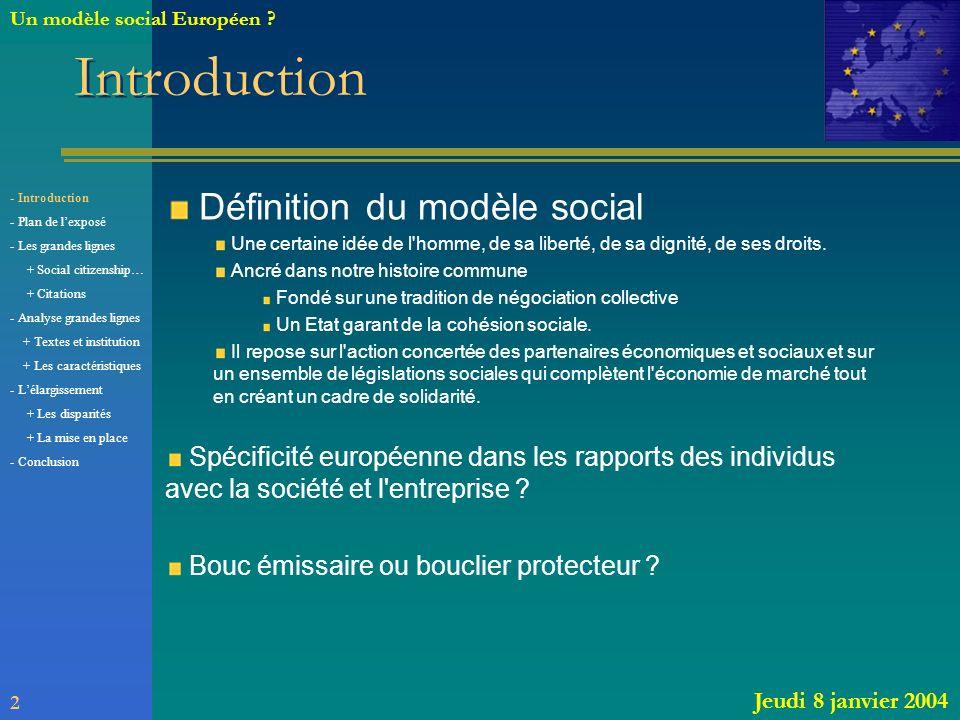 Introduction Définition du modèle social
