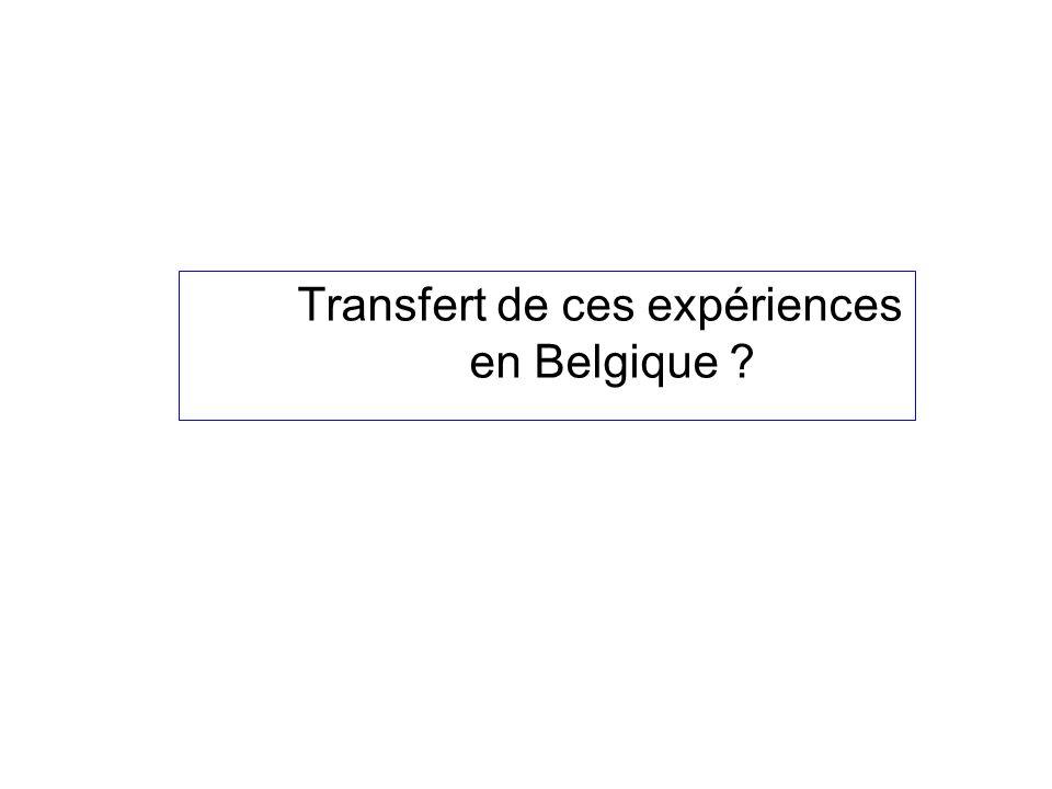 Transfert de ces expériences en Belgique
