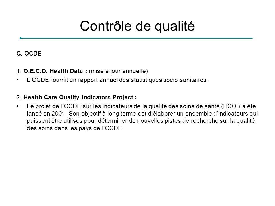 Contrôle de qualité C. OCDE