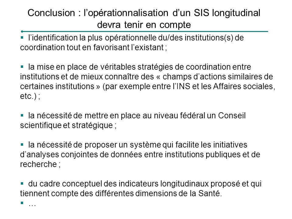 Conclusion : l'opérationnalisation d'un SIS longitudinal devra tenir en compte