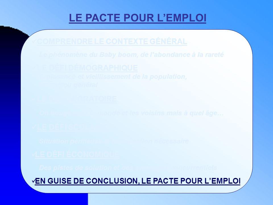 LE PACTE POUR L'EMPLOI COMPRENDRE LE CONTEXTE GÉNÉRAL