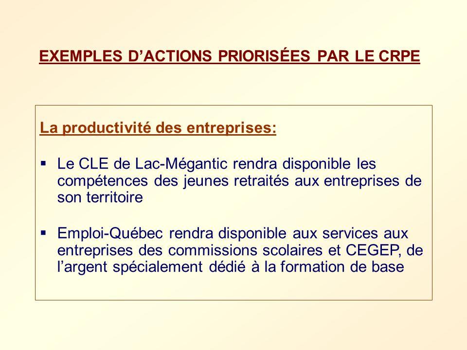 EXEMPLES D'ACTIONS PRIORISÉES PAR LE CRPE