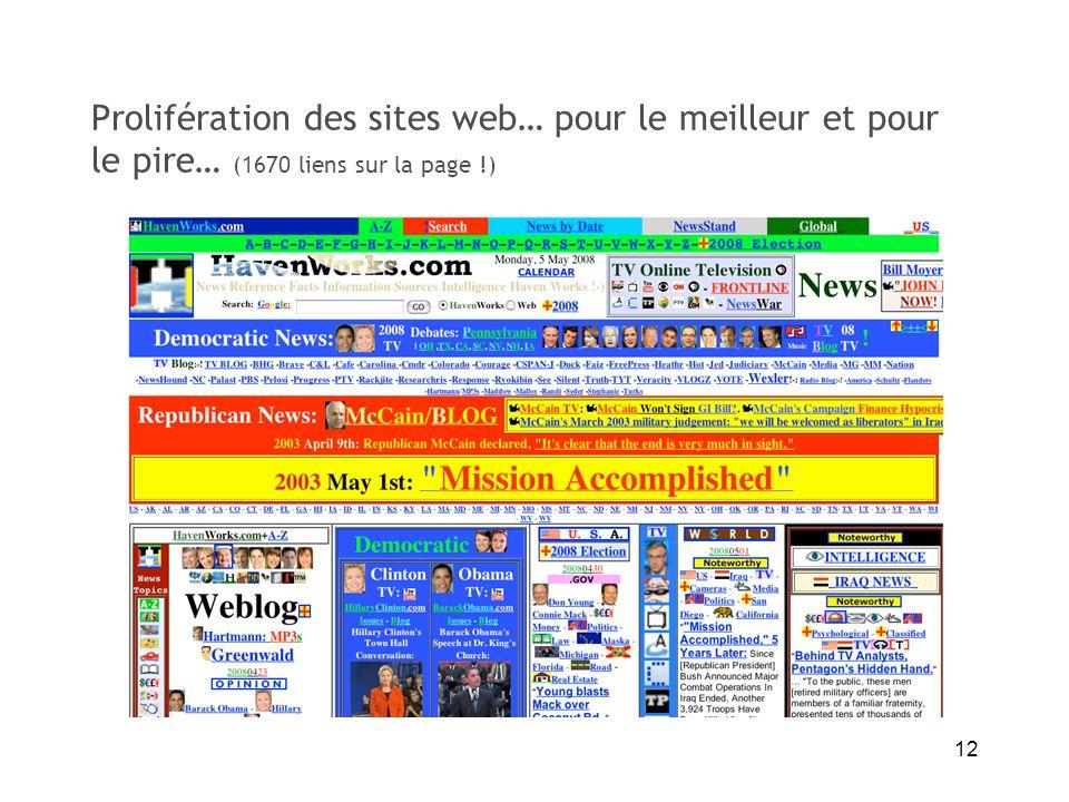 Prolifération des sites web… pour le meilleur et pour le pire… (1670 liens sur la page !)