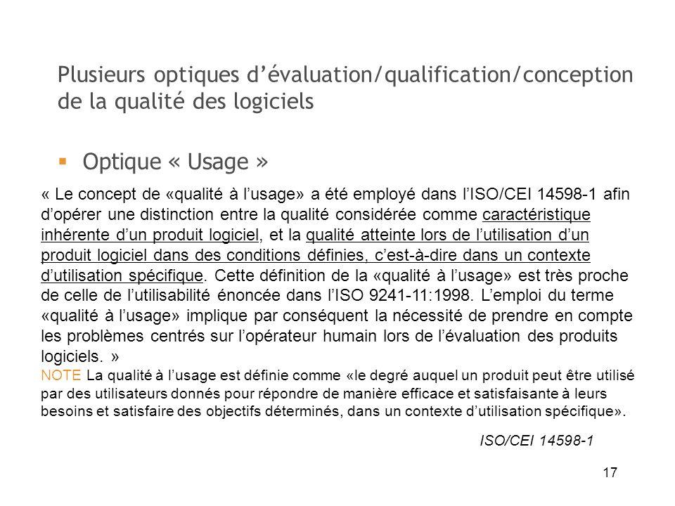 Plusieurs optiques d'évaluation/qualification/conception de la qualité des logiciels