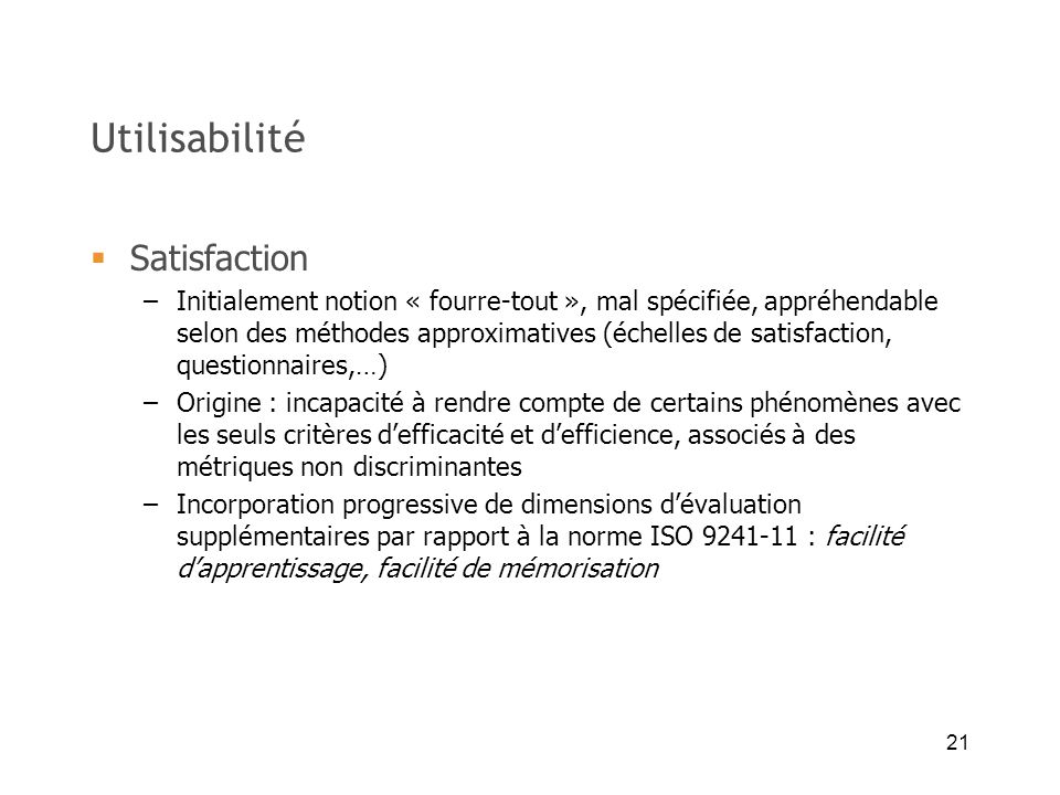 Utilisabilité Satisfaction