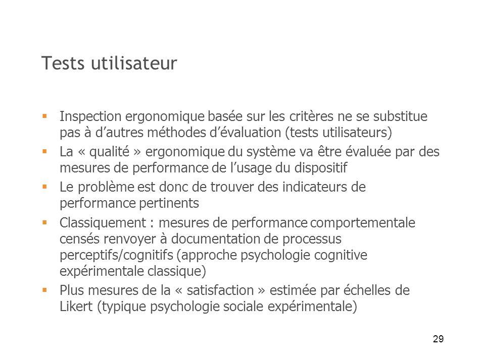 Tests utilisateur Inspection ergonomique basée sur les critères ne se substitue pas à d'autres méthodes d'évaluation (tests utilisateurs)