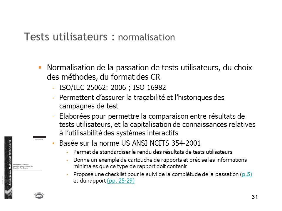 Tests utilisateurs : normalisation