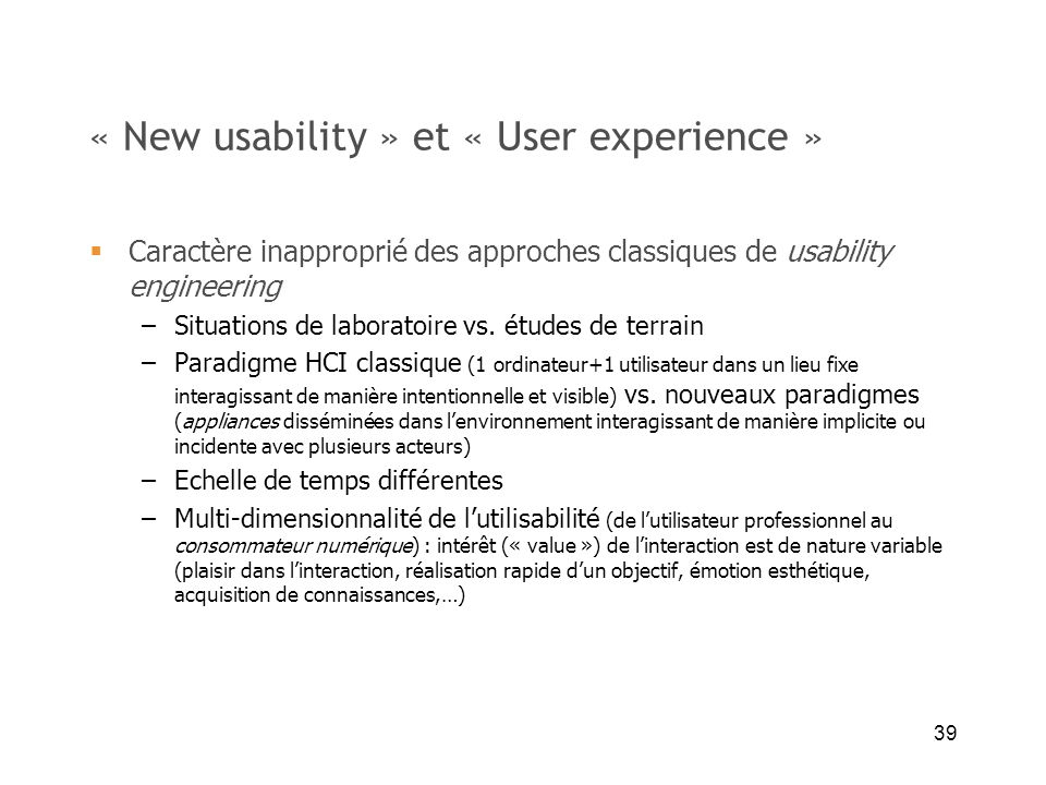 « New usability » et « User experience »
