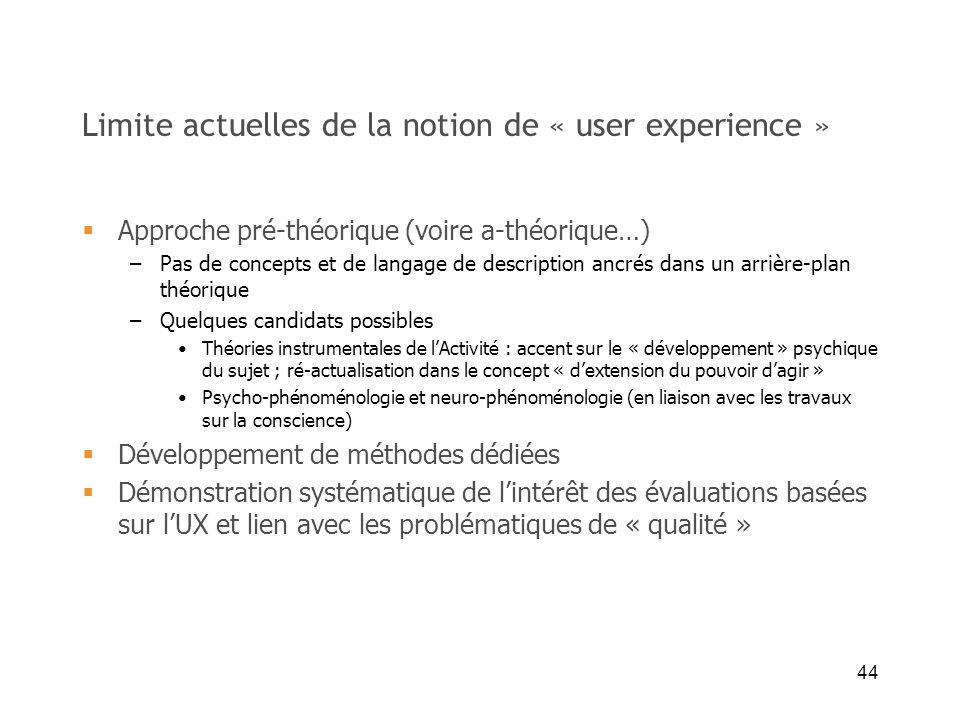 Limite actuelles de la notion de « user experience »