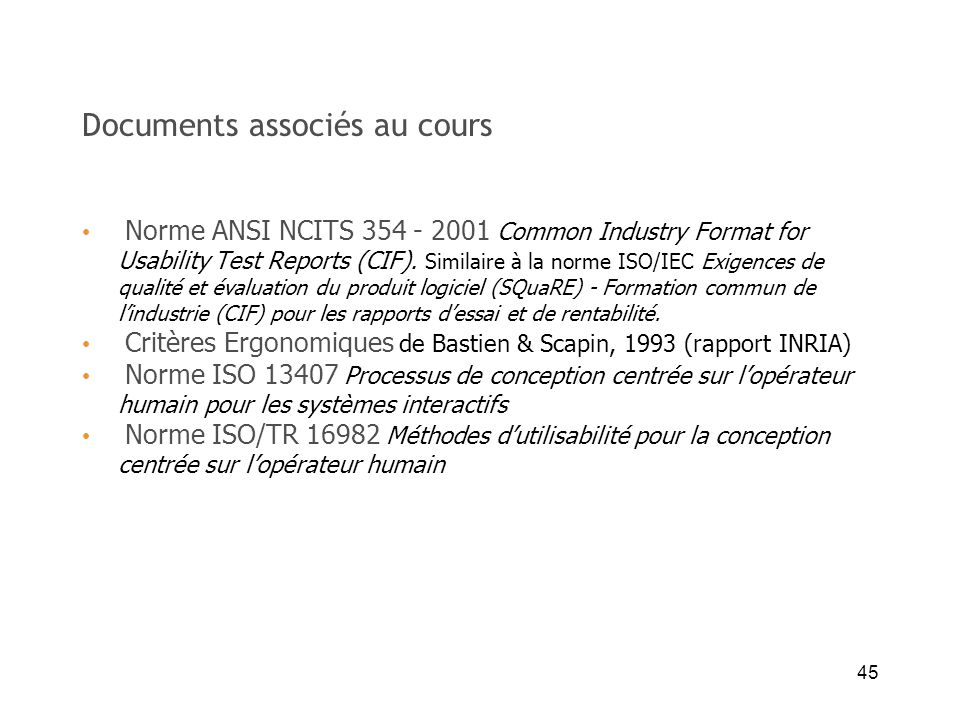 Documents associés au cours