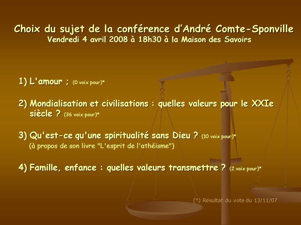 Choix du sujet de la conférence d'André Comte-Sponville