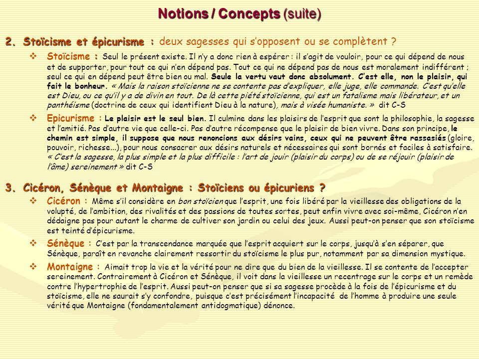 Notions / Concepts (suite)