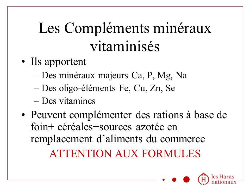 Les Compléments minéraux vitaminisés