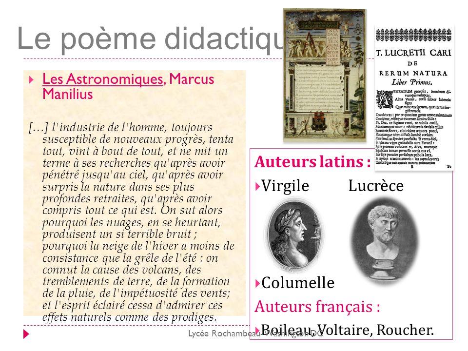 Le poème didactique Auteurs latins : Virgile Lucrèce Columelle