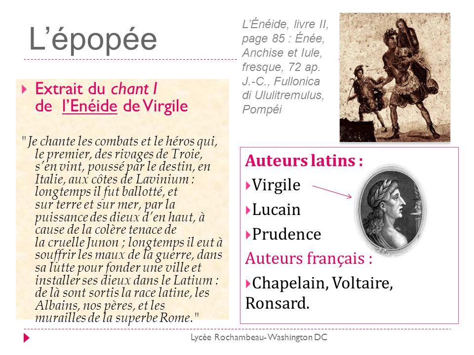 L'épopée Extrait du chant I de l'Enéide de Virgile Auteurs latins :