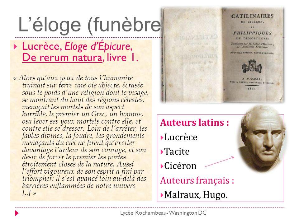 L'éloge (funèbre) Lucrèce, Eloge d'Épicure, De rerum natura, livre 1.