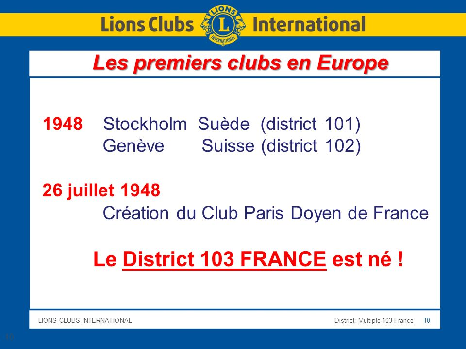 Le District 103 FRANCE est né !