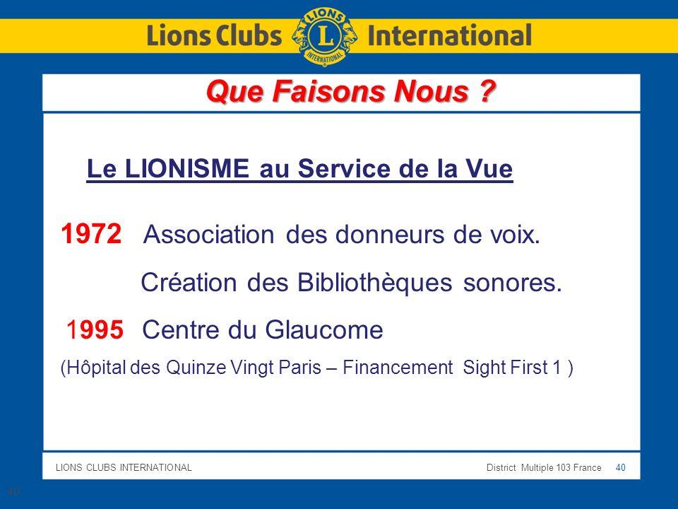 Que Faisons Nous 1972 Association des donneurs de voix.