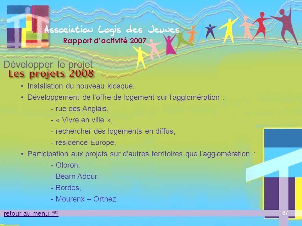 Développer le projet Les projets 2008 Installation du nouveau kiosque.