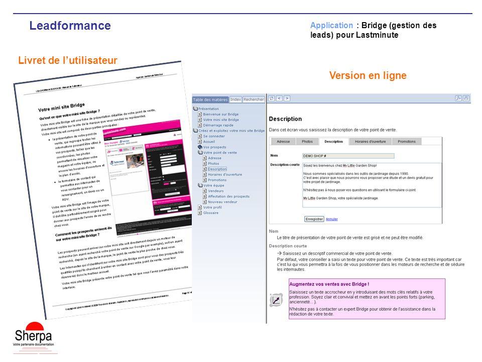 Leadformance Livret de l'utilisateur Version en ligne