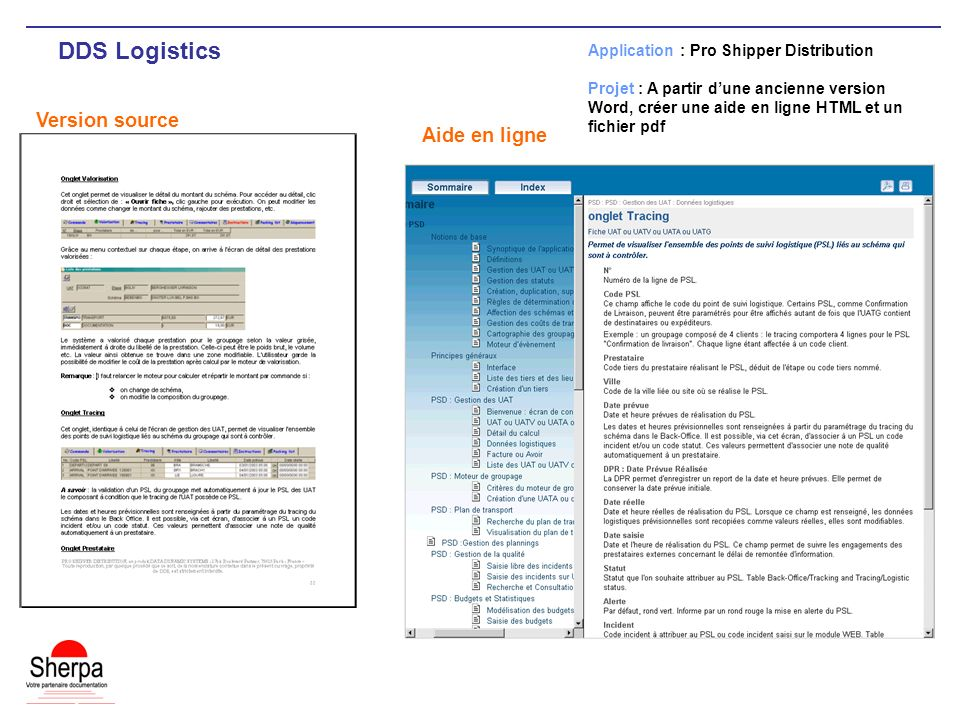 DDS Logistics Version source Aide en ligne