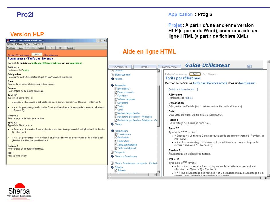 Pro2i Version HLP Aide en ligne HTML Application : Progib