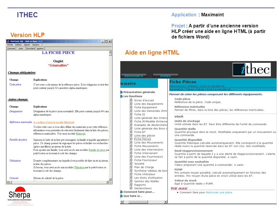 ITHEC Version HLP Aide en ligne HTML Application : Maximaint