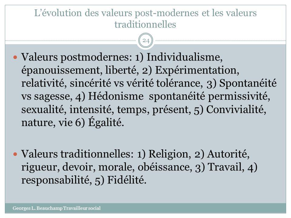 L'évolution des valeurs post-modernes et les valeurs traditionnelles