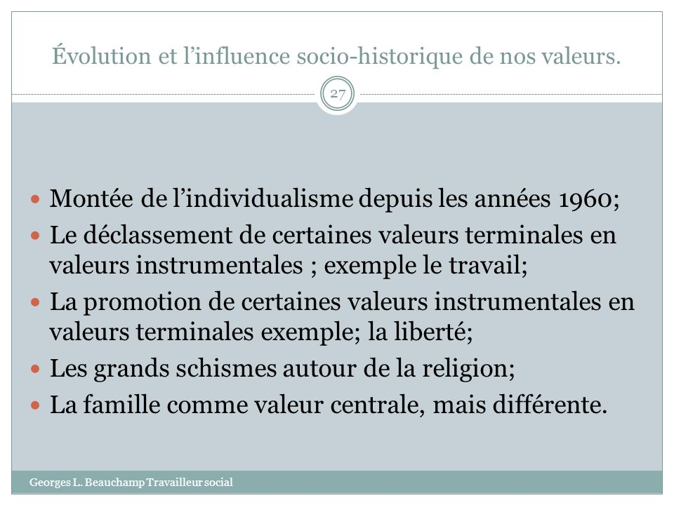 Évolution et l'influence socio-historique de nos valeurs.