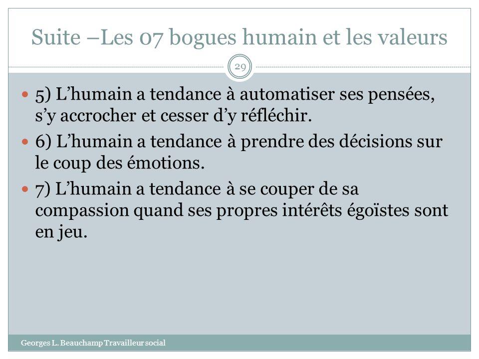 Suite –Les 07 bogues humain et les valeurs