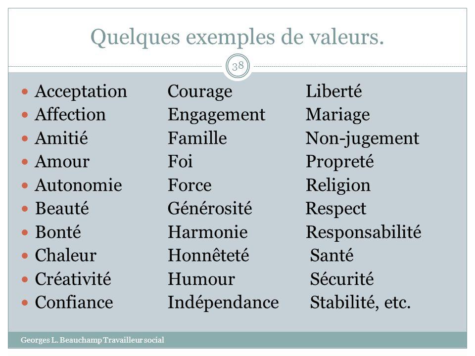 Quelques exemples de valeurs.