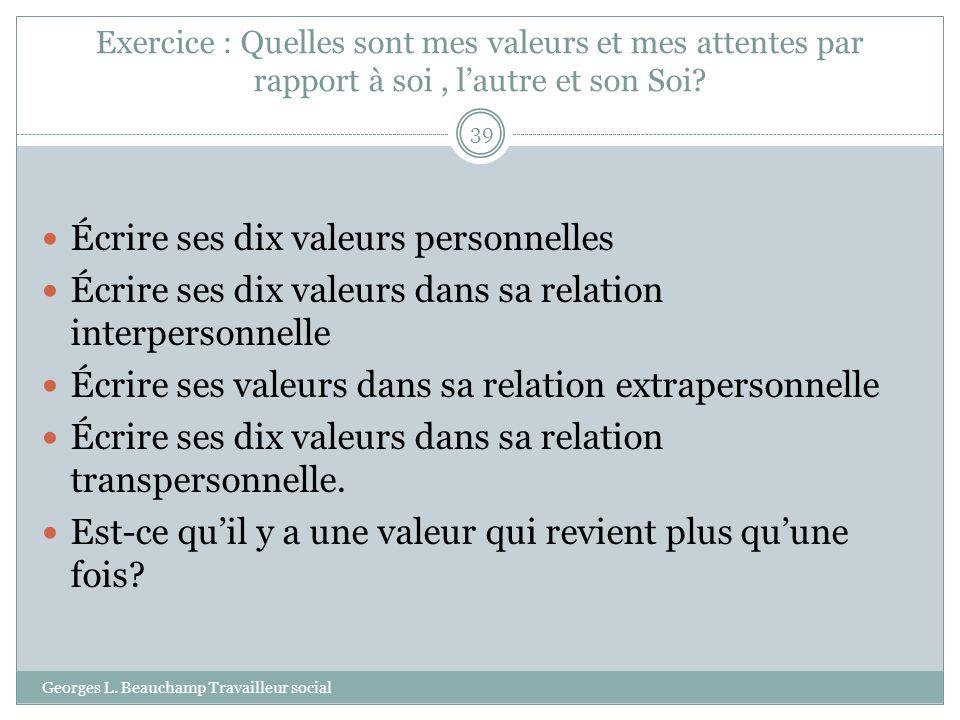 Écrire ses dix valeurs personnelles