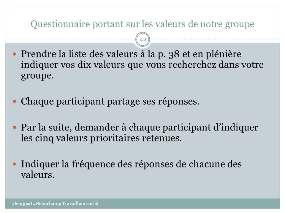 Questionnaire portant sur les valeurs de notre groupe