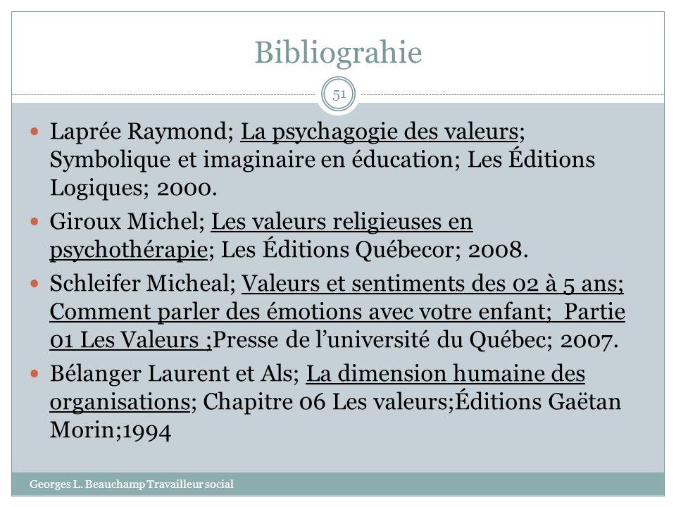 Bibliograhie Laprée Raymond; La psychagogie des valeurs; Symbolique et imaginaire en éducation; Les Éditions Logiques; 2000.