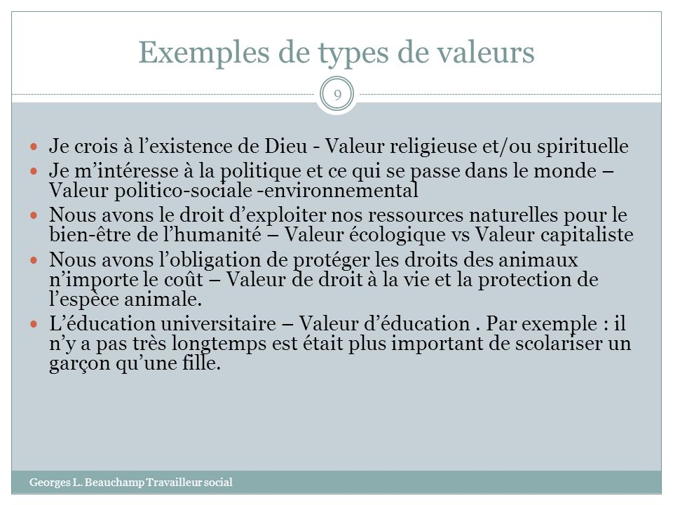 Exemples de types de valeurs