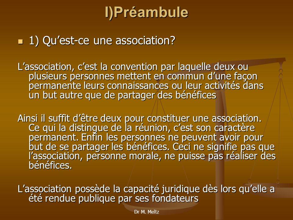I)Préambule 1) Qu'est-ce une association