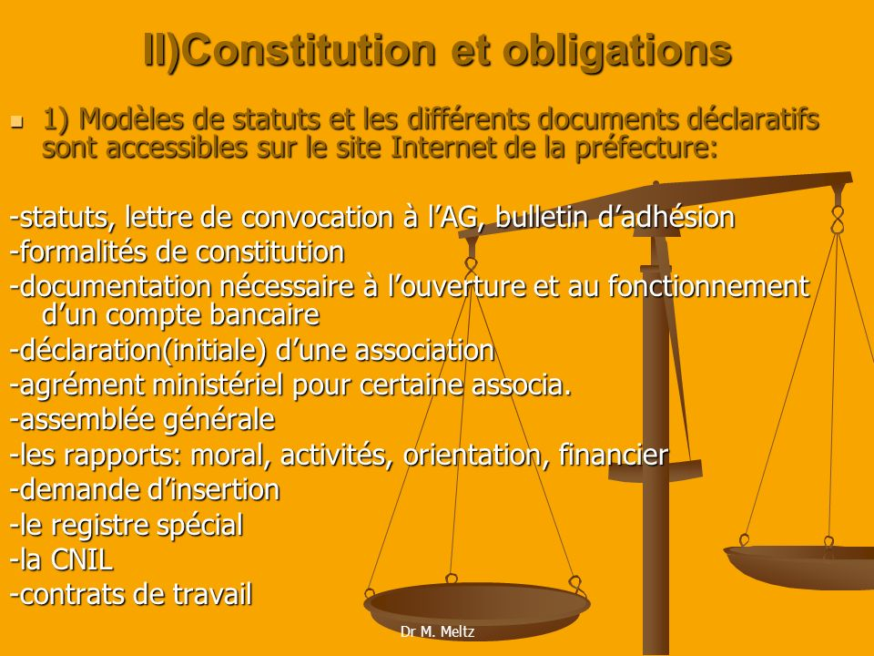 II)Constitution et obligations