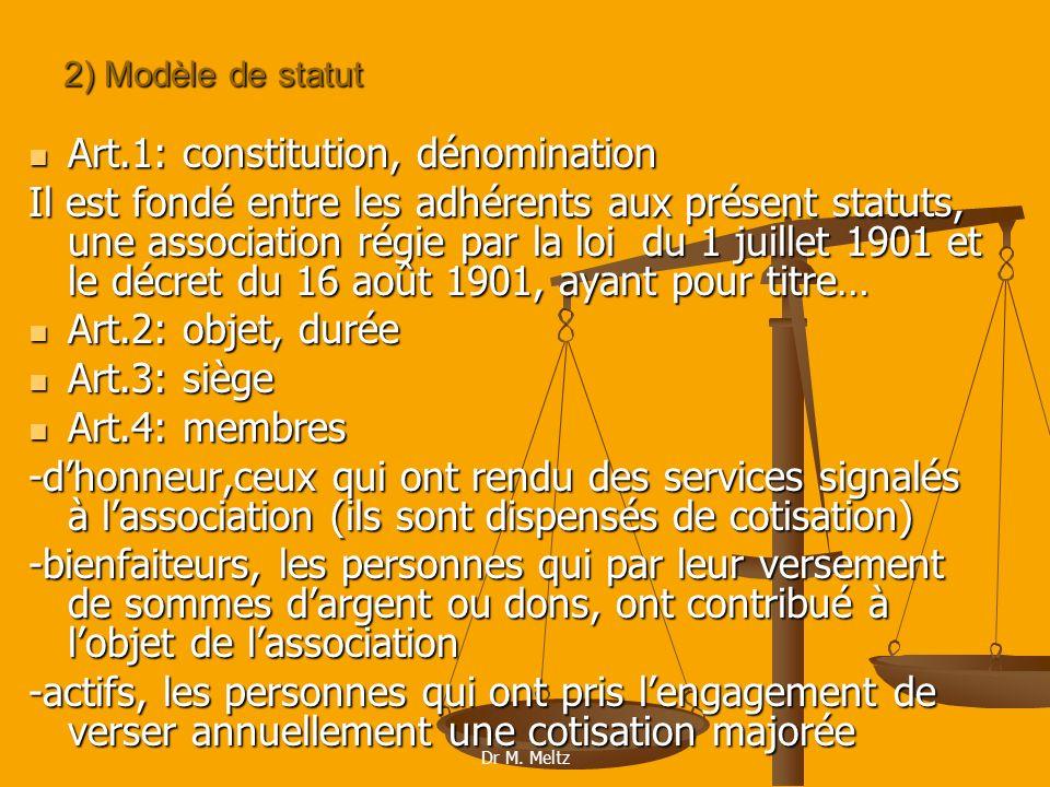 Art.1: constitution, dénomination