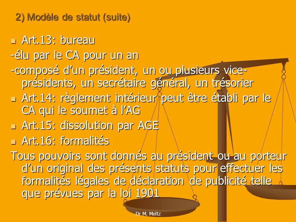 2) Modèle de statut (suite)
