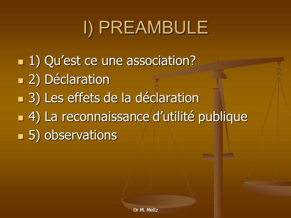 I) PREAMBULE 1) Qu'est ce une association 2) Déclaration