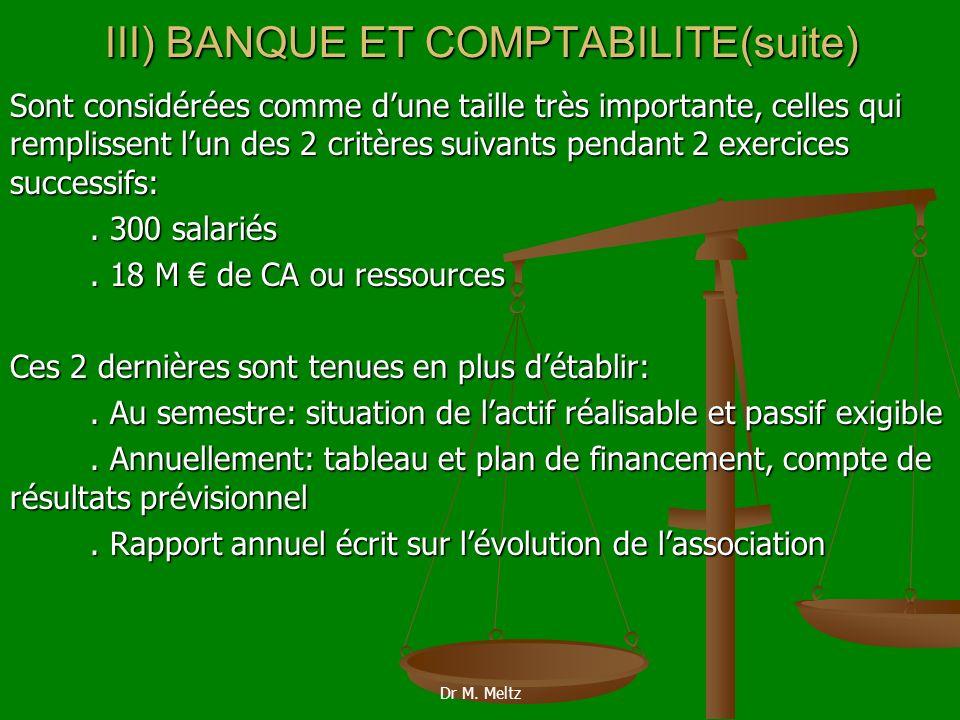 III) BANQUE ET COMPTABILITE(suite)