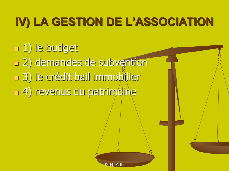 IV) LA GESTION DE L'ASSOCIATION
