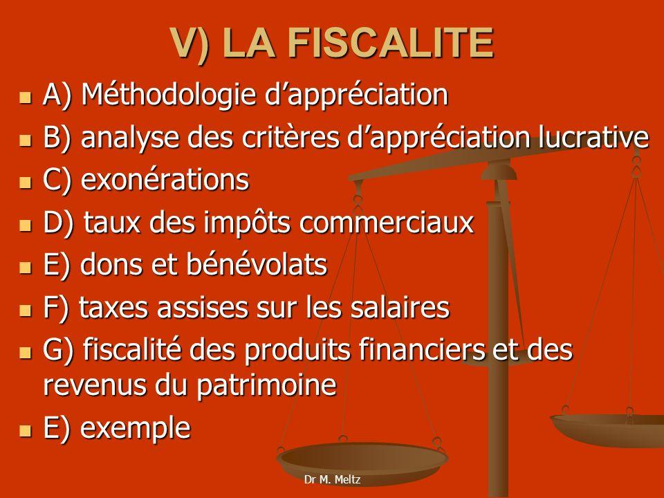 V) LA FISCALITE A) Méthodologie d'appréciation
