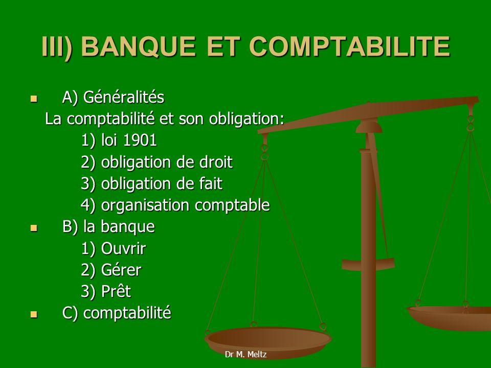 III) BANQUE ET COMPTABILITE