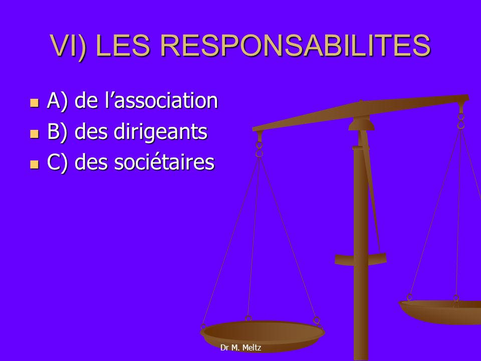 VI) LES RESPONSABILITES