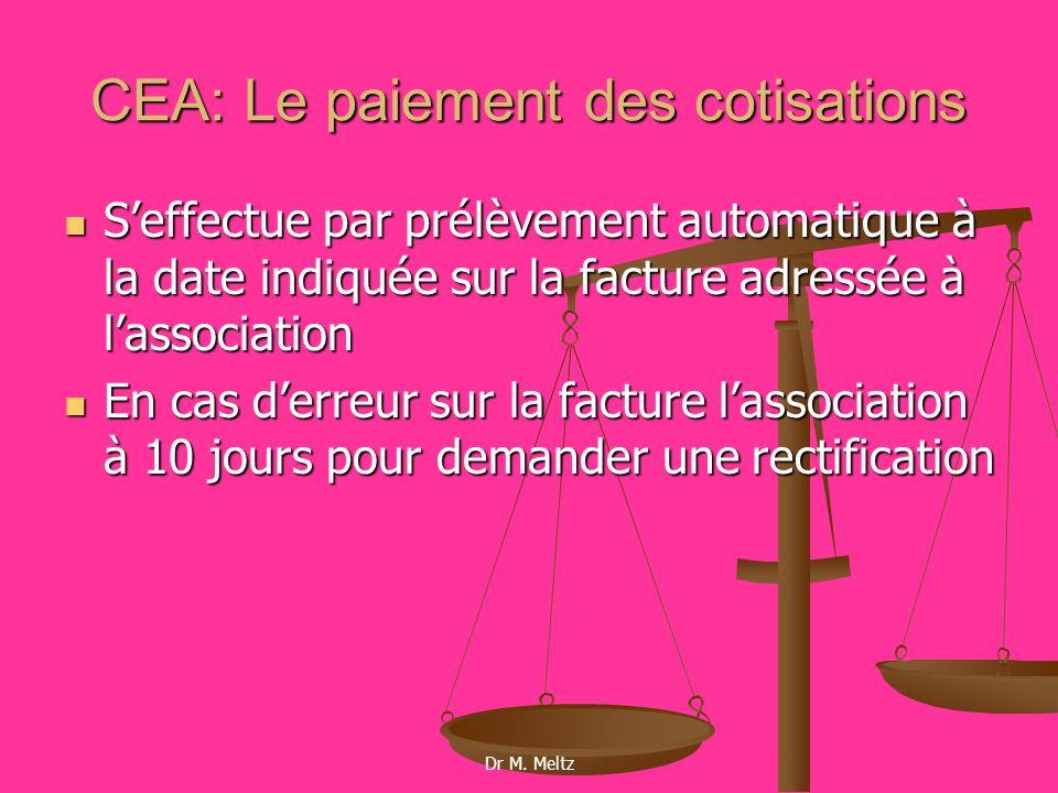 CEA: Le paiement des cotisations