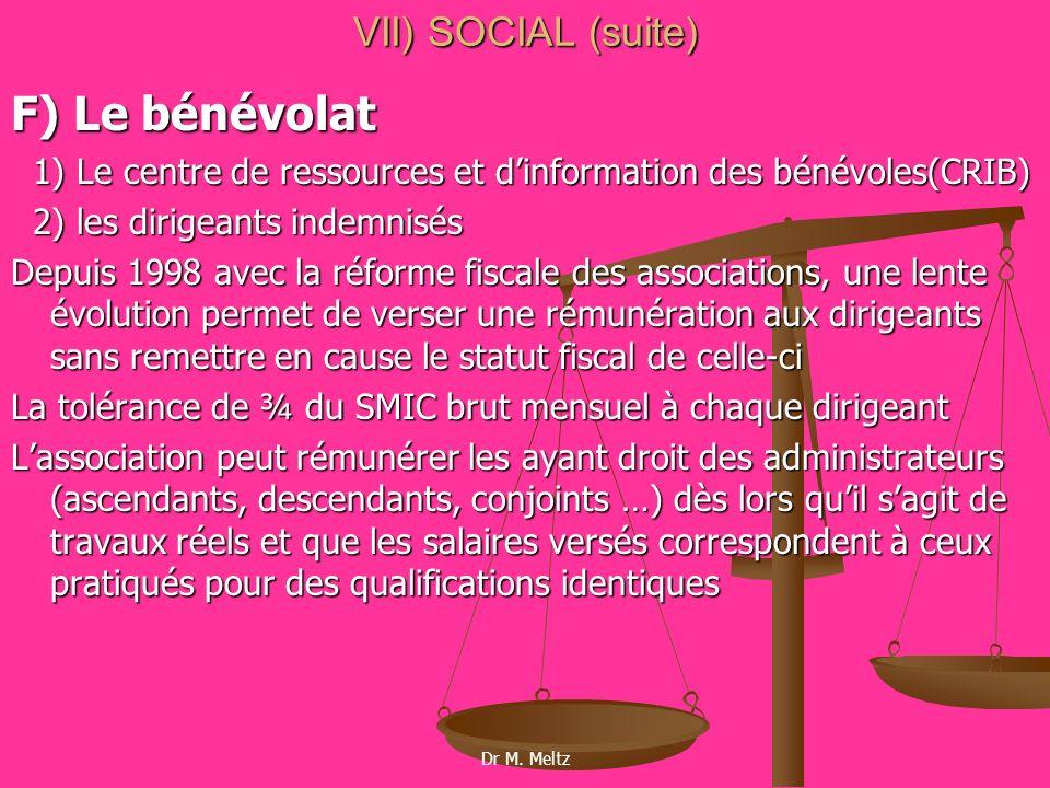 F) Le bénévolat VII) SOCIAL (suite)