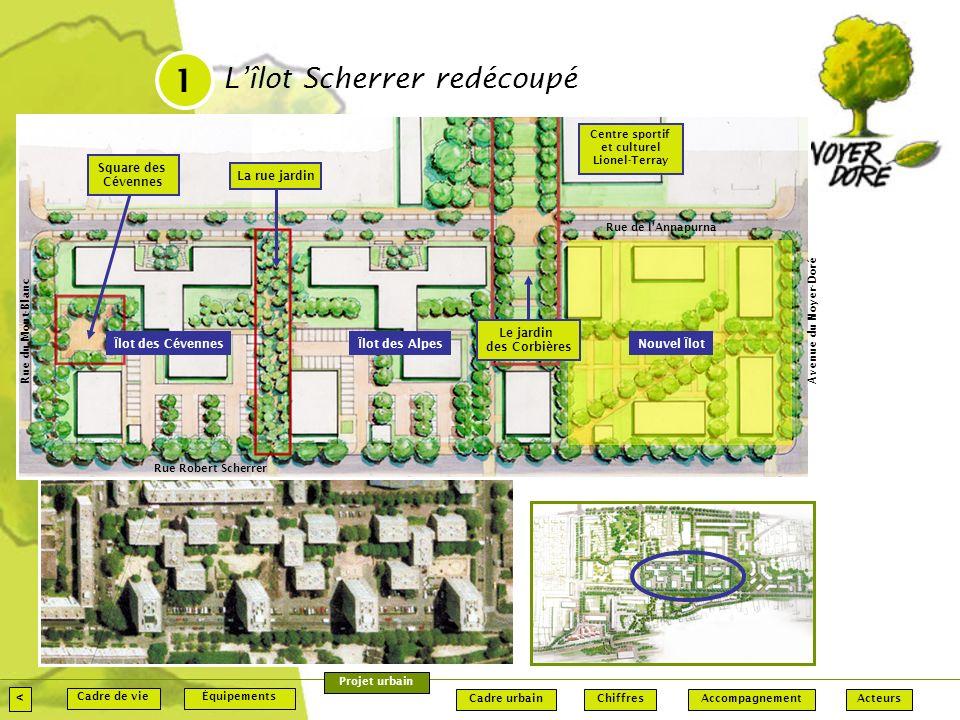 1 L'îlot Scherrer redécoupé < Square des Cévennes La rue jardin