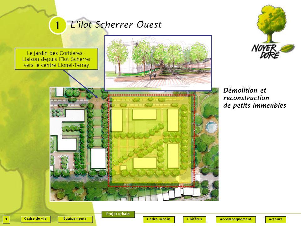1 L'îlot Scherrer Ouest. Le jardin des Corbières : Liaison depuis l'îlot Scherrer vers le centre Lionel-Terray.