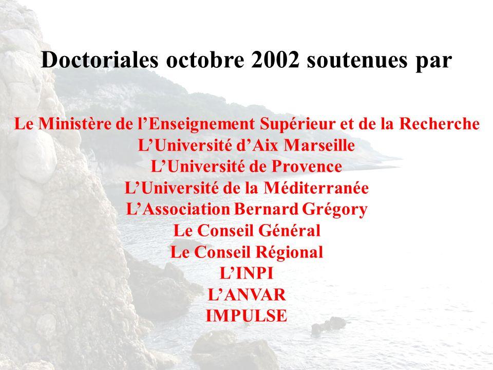 Doctoriales octobre 2002 soutenues par
